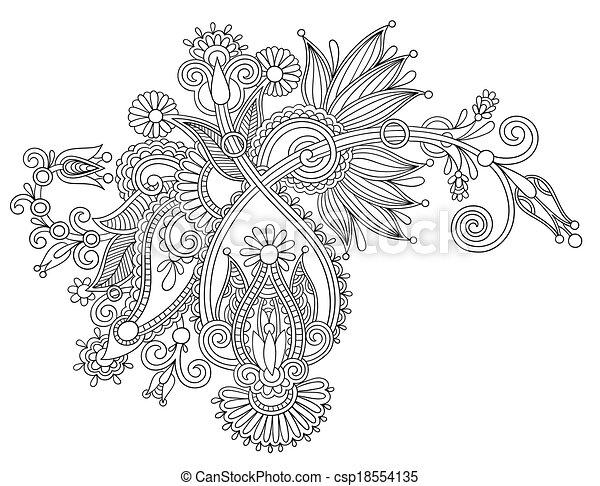 Diseño de flores de la línea negra, estilo étnico ucraniano - csp18554135