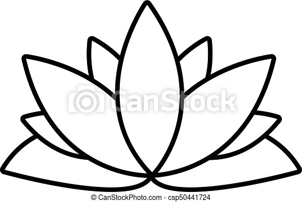 Estilo Flor Contorno Loto Icono 50441724