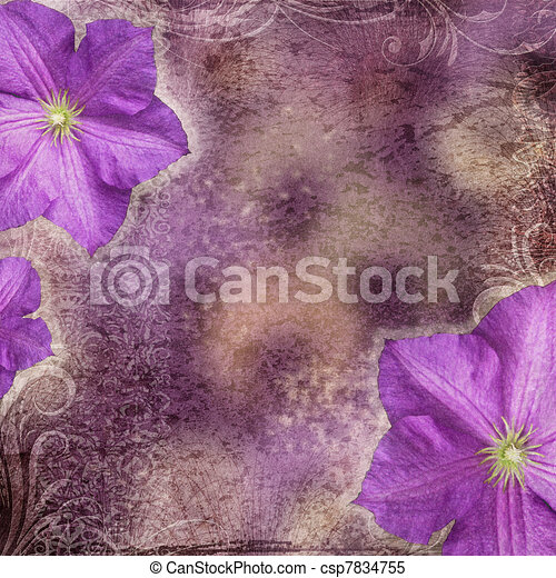 estilo, flores, grunge, plano de fondo - csp7834755