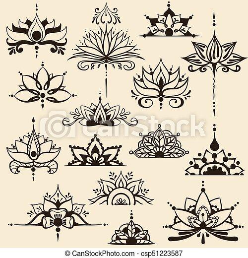 Estilo Flores Loto Dibujos Freehand Este Quince Loto Else
