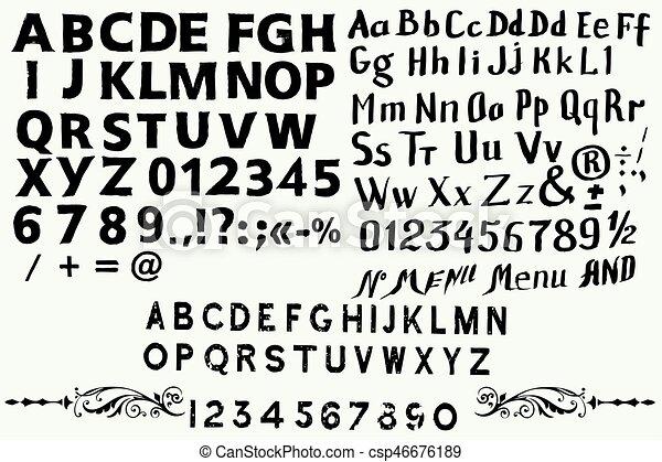 Colección de mano inglesa dibujada en ABC para fuentes de estilo antiguo - csp46676189