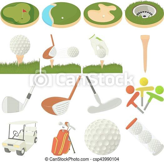Artículos de golf listos, estilo de dibujos animados - csp43990104