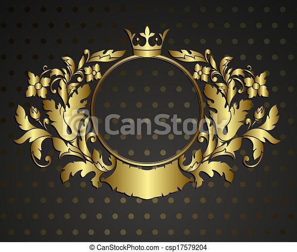 Cartouche de emblema dorado. Vector marco antiguo de la frontera grabado con un patrón de adorno retro en diseño decorativo estilo rocococo - csp17579204