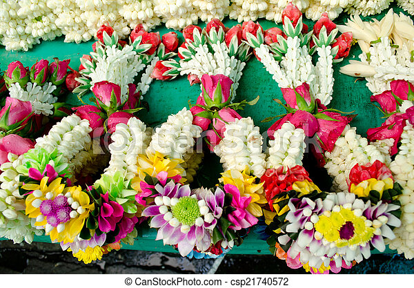 estilo, guirnalda flor, tailandia, tailandés, mercado - csp21740572
