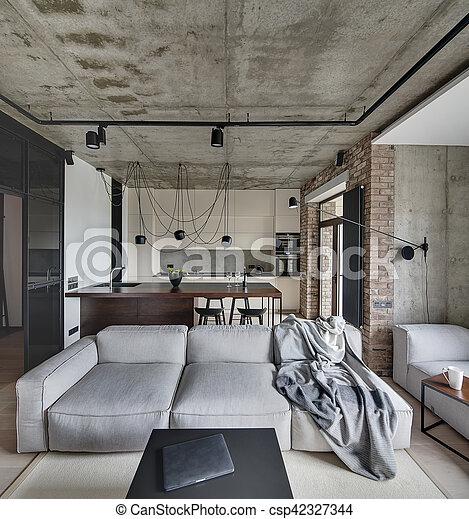 piso de concreto sala de estar Estilo Habitacin Desvn Sala De Estar Walls Desvn