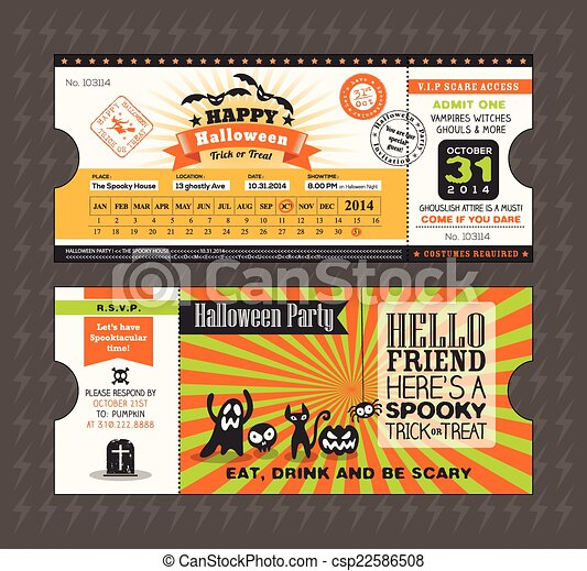 Tarjeta de Halloween en boleto de tren pase de diseño de estilo - csp22586508