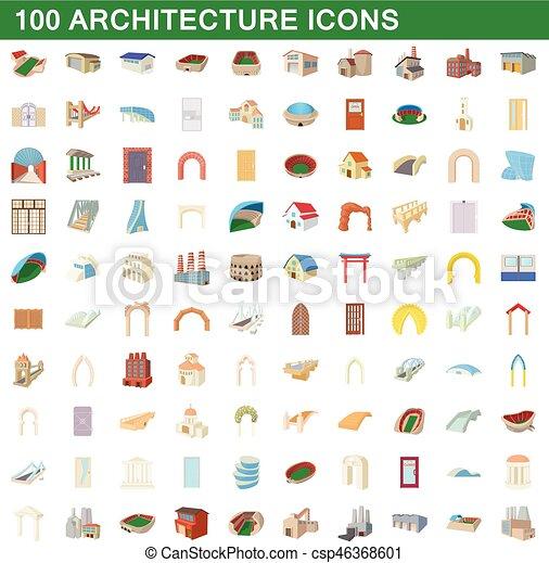 100 íconos de arquitectura, estilo de dibujos animados - csp46368601