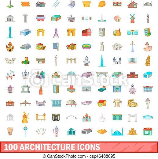 100 íconos de arquitectura, estilo de dibujos animados - csp46488695