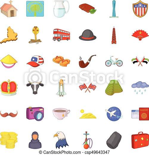 estilo, iconos, conjunto, arquitectura, mundo, caricatura - csp49643347
