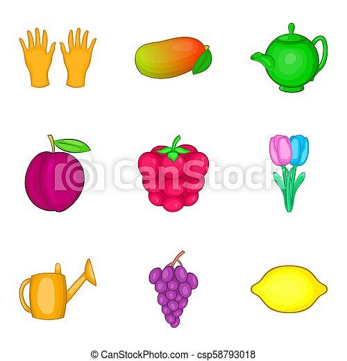Iconos de colección de miel, estilo de dibujos animados - csp58793018