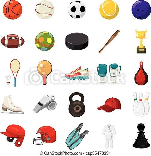 Iconos deportivos, estilo de dibujos animados - csp35478331