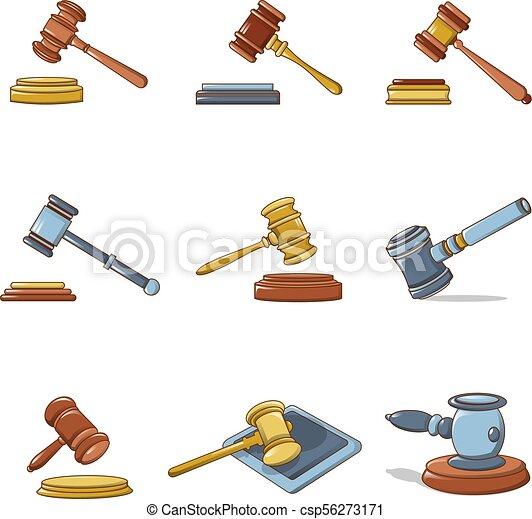 Juego de iconos del juez Hammer, estilo de dibujos animados - csp56273171