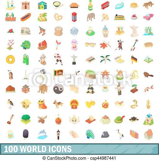 100 íconos del mundo, estilo de dibujos animados - csp44987441