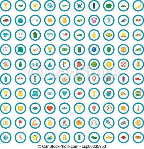 100 íconos de tenis, estilo de dibujos animados - csp68335953