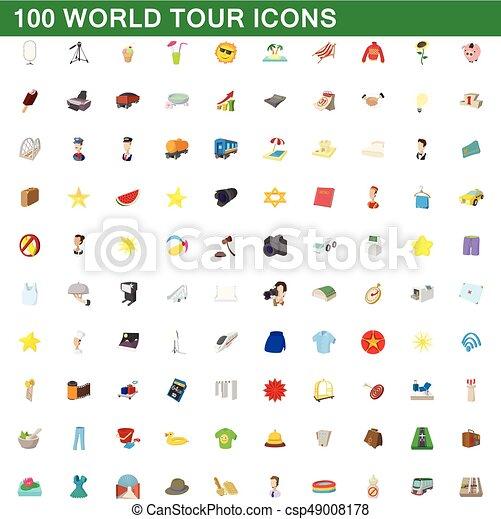 100 íconos de gira mundial, estilo de dibujos animados - csp49008178