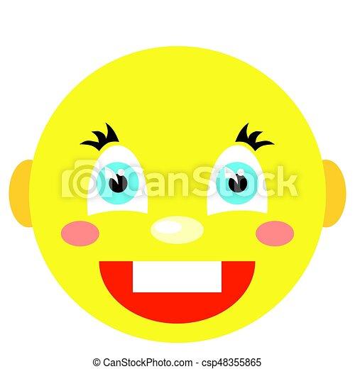 Smiley se ríe. Iconos en un fondo blanco. Imagen vector en un estilo de dibujos animados - csp48355865