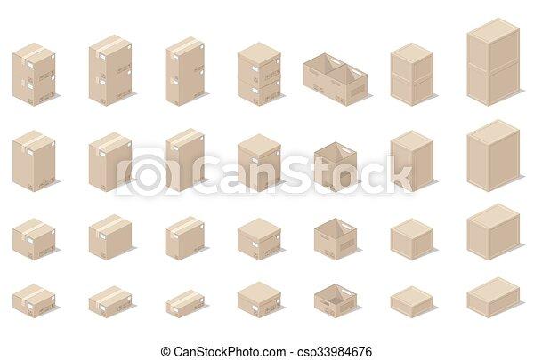 Icons 3D cajas, estilo realista de gráficos vectoriales, una vista isometrica. - csp33984676