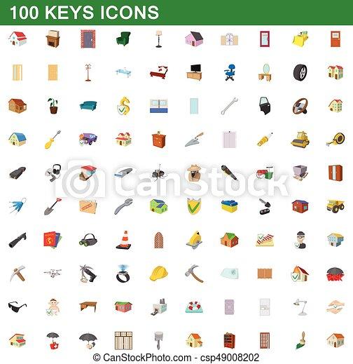 100 kilos de íconos, estilo de dibujos animados - csp49008202
