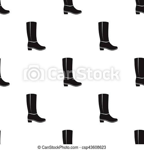 El ícono de las botas altas de la rodilla en el estilo negro