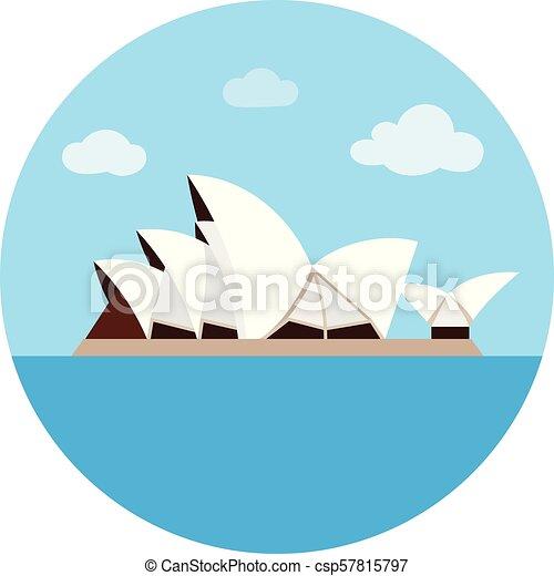 estilo, illustration., países, casa ópera, símbolo, isolado, experiência., vetorial, sydney, branca, ícone, caricatura, estoque - csp57815797
