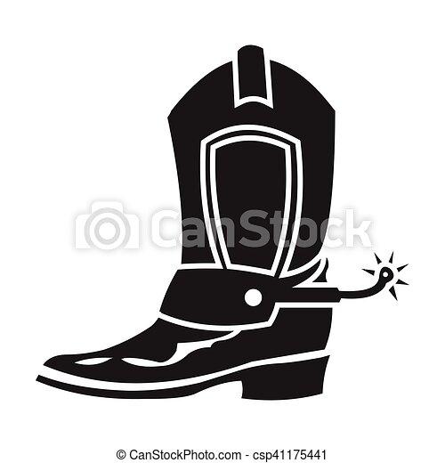 Icono de botas de vaquero en estilo negro aislado en el
