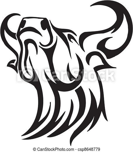 estilo, image., tribal, -, vetorial, touro - csp8648779