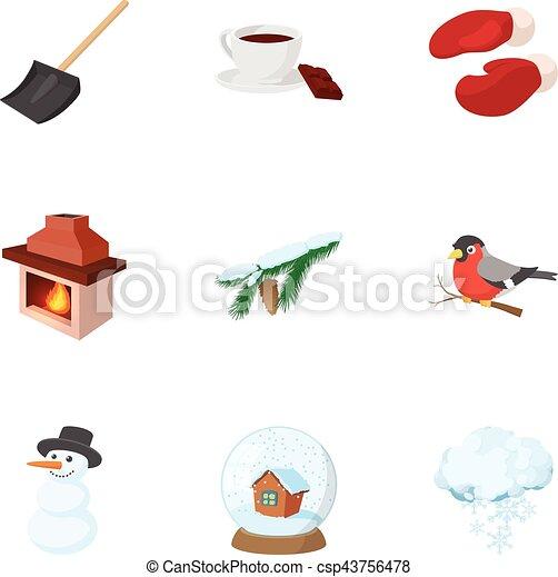 Íconos de invierno, estilo de dibujos animados - csp43756478