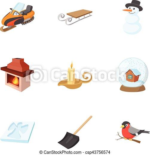 Estación de iconos de invierno, estilo de dibujos animados - csp43756574