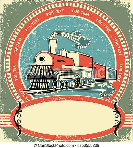 estilo, label.vintage, antigas, locomotiva, textura - csp8558209