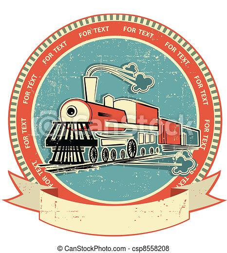 Etiqueta de locomotora. Estilo de la vieja textura - csp8558208
