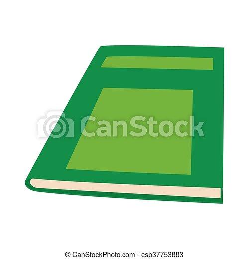 Ícono de libros verdes cerrados, estilo de dibujos animados - csp37753883