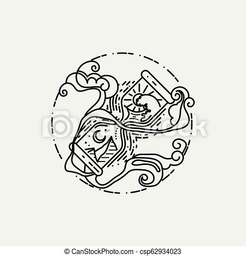 Estilo Linear Isolado Ilustracao Desenho Sagrado
