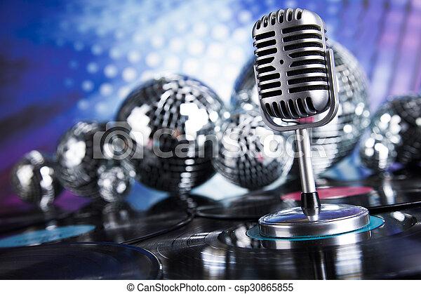 estilo, música, retro, plano de fondo, micrófono - csp30865855