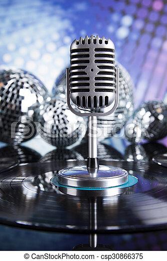 estilo, música, retro, plano de fondo, micrófono - csp30866375