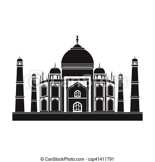 El icono de Taj Mahal en estilo negro aislado en fondo blanco. India simboliza la ilustración de vectores de stock. - csp41411791