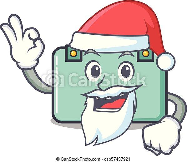 Estilo de dibujos animados de la mascota de la maleta de Santa - csp57437921