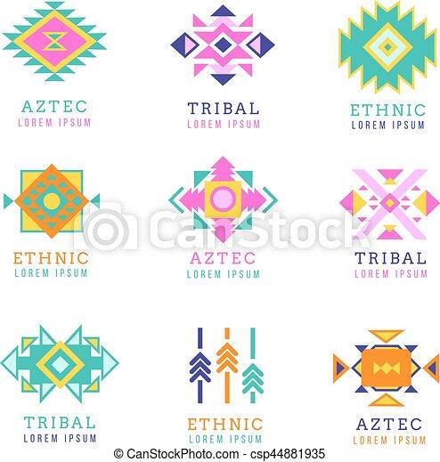 Estilo, mexicano, set., etiquetas, aislado, azteca, plano de fondo ...
