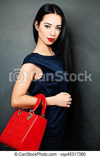 estilo, moda, morena, retrato, woman., moda - csp45317380