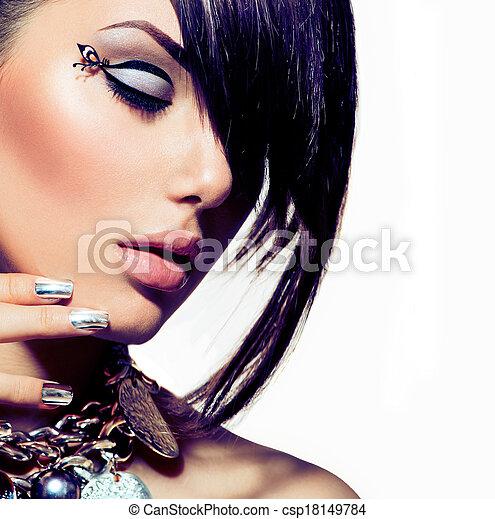 estilo, moda, pelo, portrait., moderno, modelo, niña - csp18149784