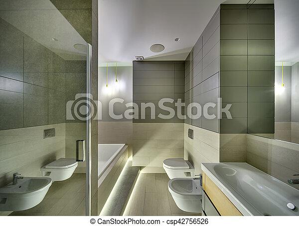 Estilo, moderno, cuarto de baño. Servicio, cuarto de baño, moderno ...
