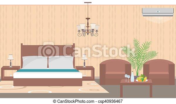 Estilo, muebles, habitación, planta de interior, hotel, aire, lujo ...