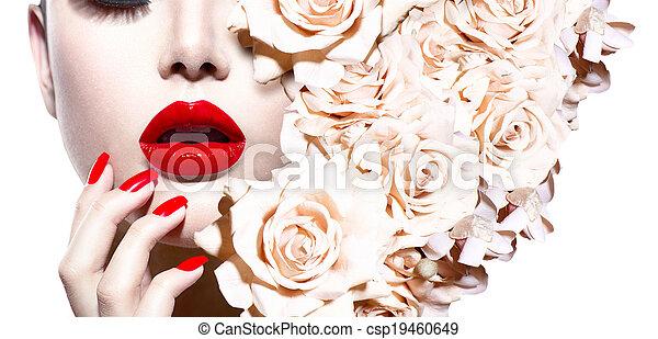 estilo, mujer, flowers., moda, sexy, modelo, moda - csp19460649