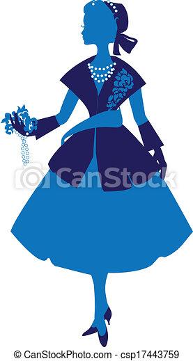 Silueta de mujer con vestido elegante