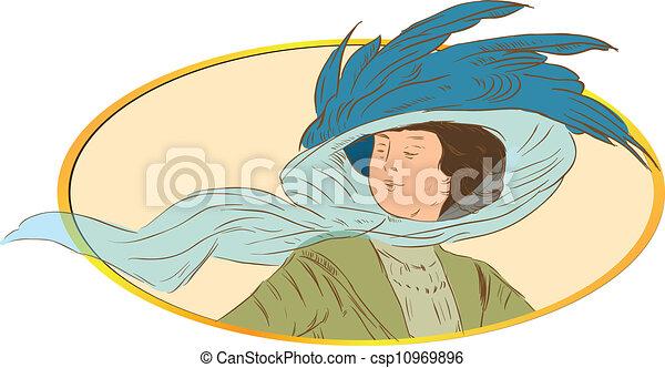 estilo, mulher, -, retro - csp10969896