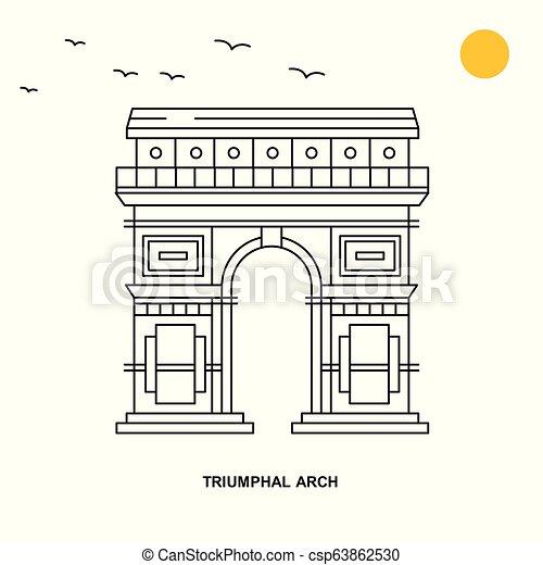 Monumento Triumphal ARCH. El mundo viaja con ilustraciones naturales al estilo de la línea - csp63862530