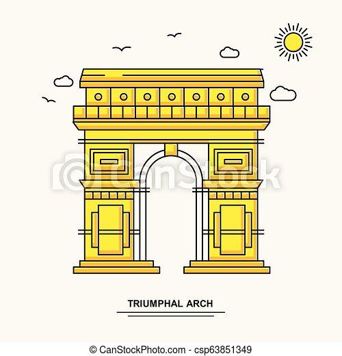 La plantilla del póster del monumento Triumphal ARCH. El mundo viaja con ilustraciones amarillas en línea estilo con la belleza de la naturaleza - csp63851349