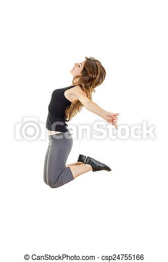 Chica deportiva haciendo ejercicios de estiramiento. Estilo fino de hip-hop - csp24755166