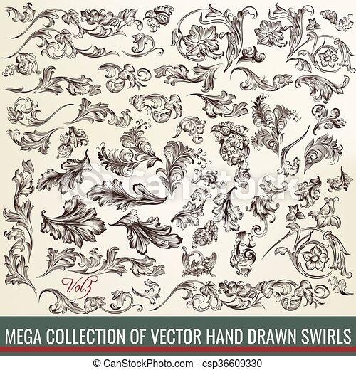 Mega set o colección de remolinos dibujados a mano en un estilo antiguo de diseño - csp36609330