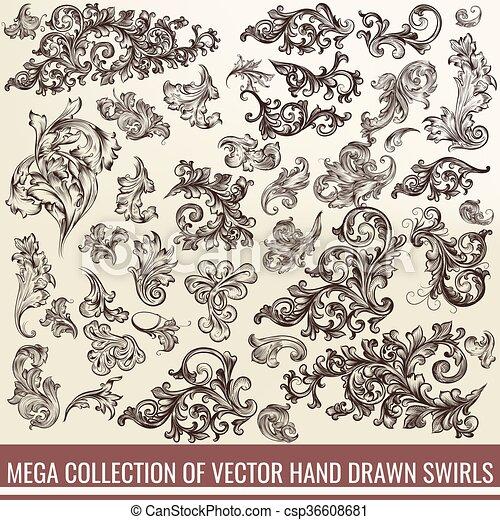Una gran colección o un conjunto de remolinos dibujados a mano en un estilo antiguo de diseño - csp36608681