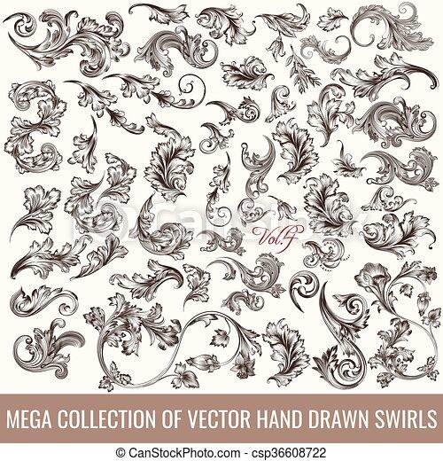 Grandes conjuntos o colección de manos dibujadas florecen en un estilo antiguo de diseño - csp36608722